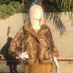 Faux leopard fur, oversized shrug jacket